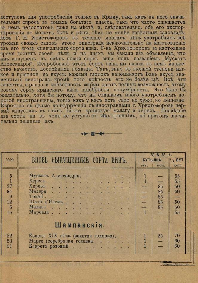 Цены на крымские вина. 1897г.